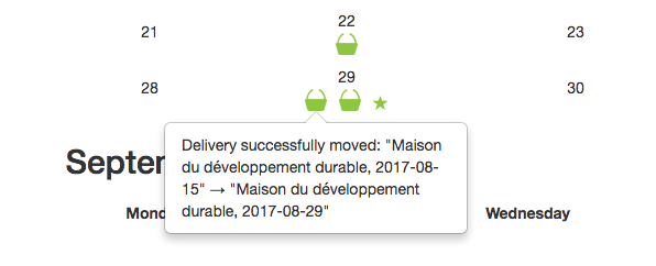 Confirmation that delivery has been successfully moved