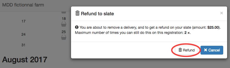 Warning message for refund to slate